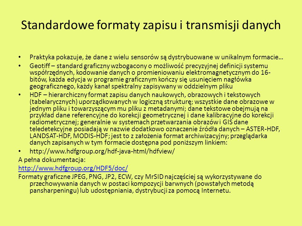 Standardowe formaty zapisu i transmisji danych