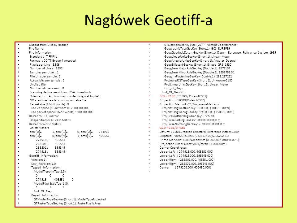 Nagłówek Geotiff-a Output from Display Header