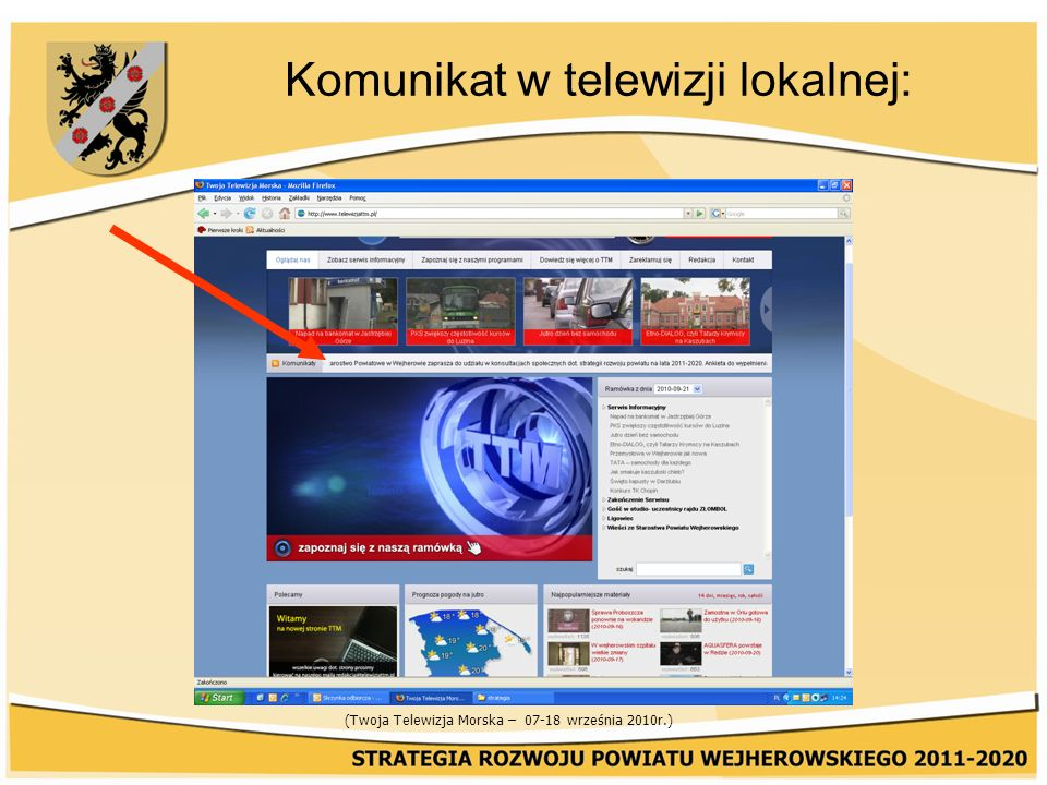 Komunikat w telewizji lokalnej: