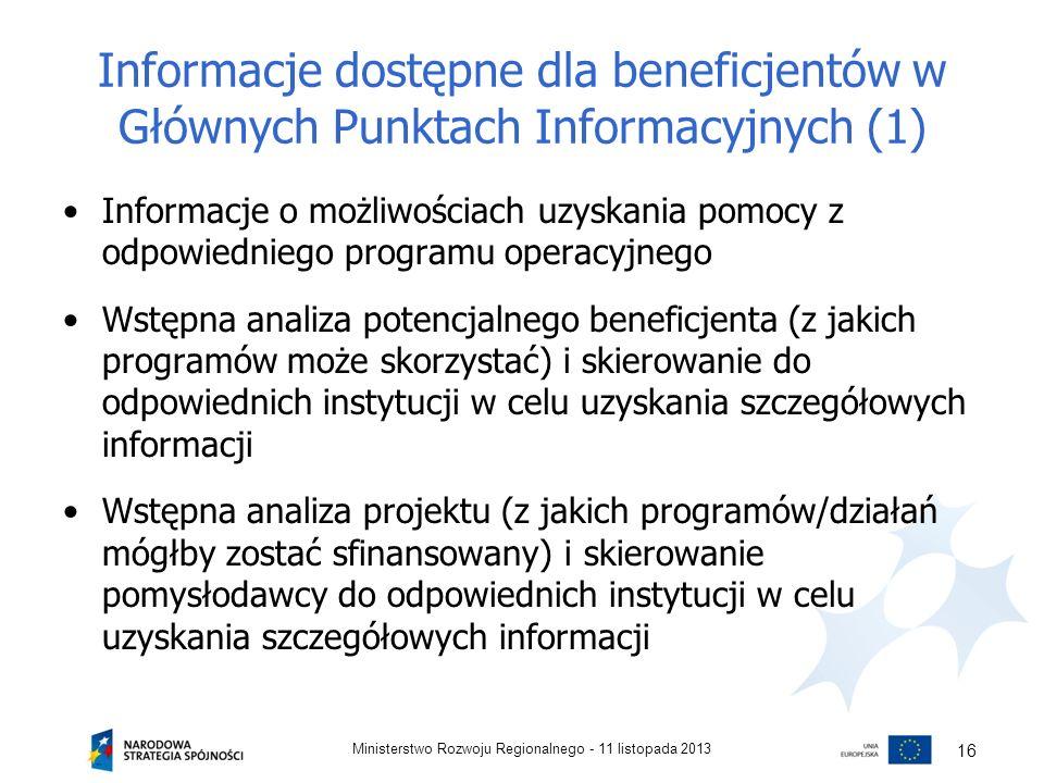 Informacje dostępne dla beneficjentów w Głównych Punktach Informacyjnych (1)