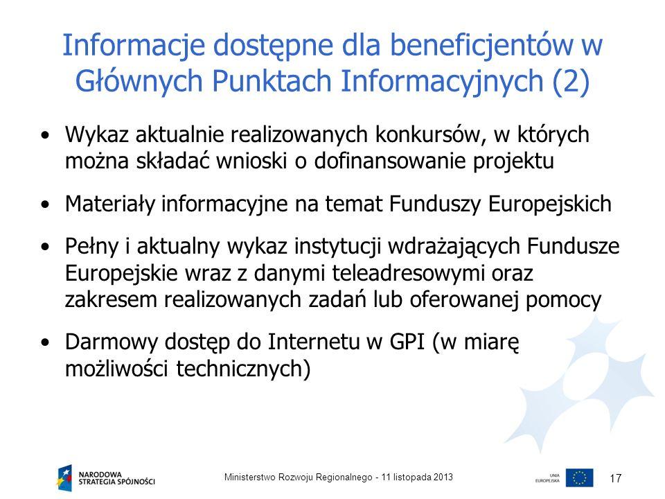 Informacje dostępne dla beneficjentów w Głównych Punktach Informacyjnych (2)