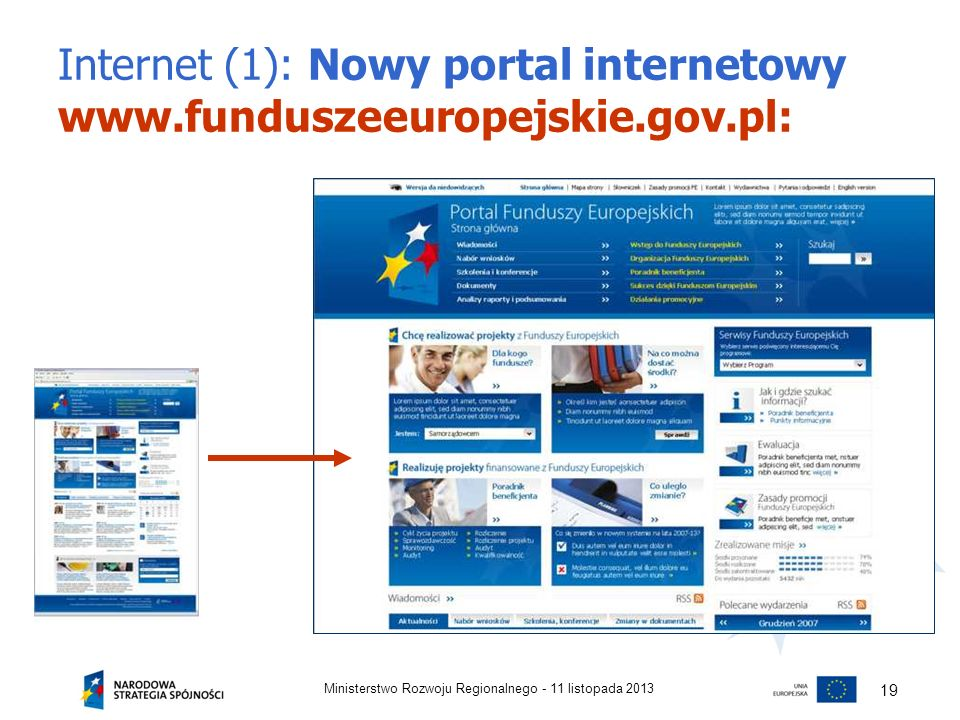 Internet (1): Nowy portal internetowy www.funduszeeuropejskie.gov.pl: