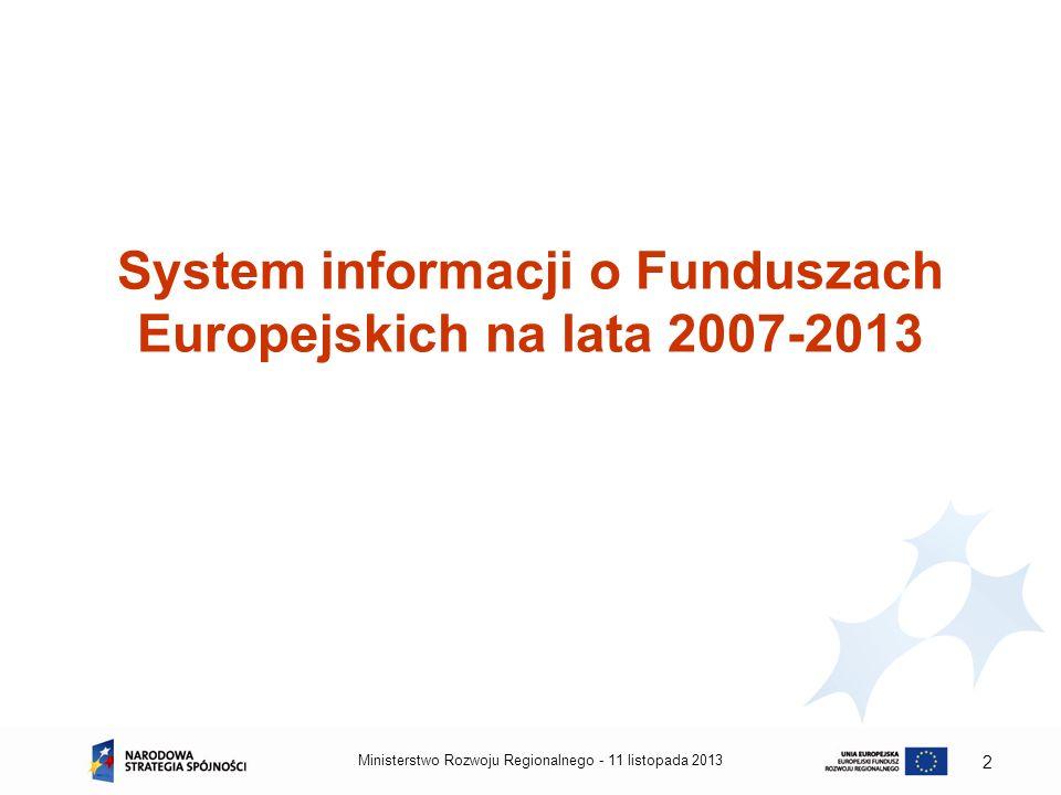 System informacji o Funduszach Europejskich na lata 2007-2013