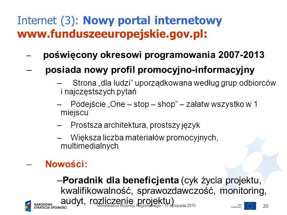 Internet (3): Nowy portal internetowy www.funduszeeuropejskie.gov.pl: