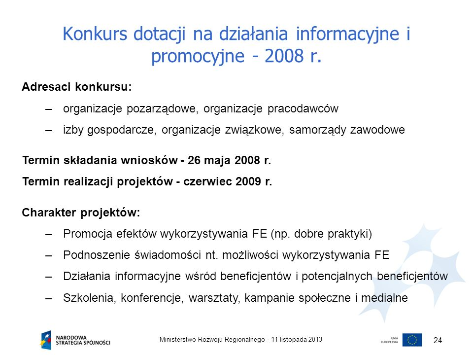 Konkurs dotacji na działania informacyjne i promocyjne - 2008 r.
