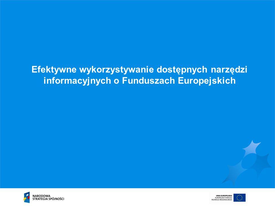 Efektywne wykorzystywanie dostępnych narzędzi informacyjnych o Funduszach Europejskich