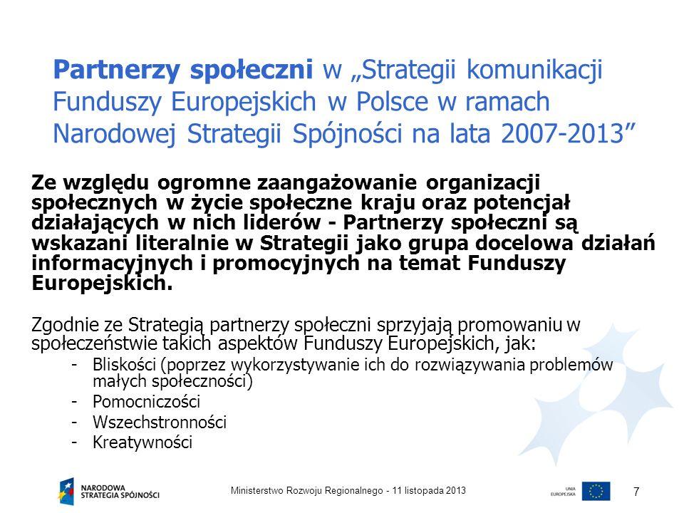 """Partnerzy społeczni w """"Strategii komunikacji Funduszy Europejskich w Polsce w ramach Narodowej Strategii Spójności na lata 2007-2013"""