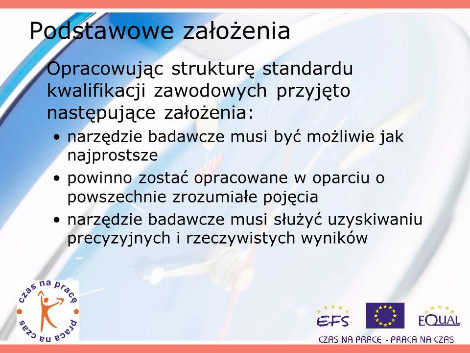 Podstawowe założenia Opracowując strukturę standardu kwalifikacji zawodowych przyjęto następujące założenia: