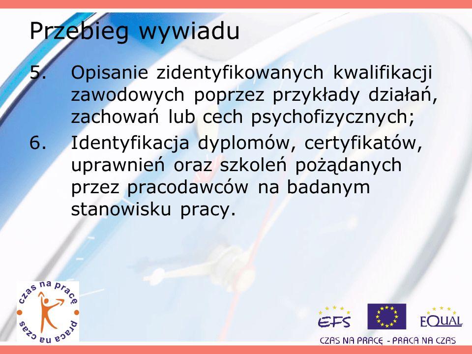 Przebieg wywiadu Opisanie zidentyfikowanych kwalifikacji zawodowych poprzez przykłady działań, zachowań lub cech psychofizycznych;