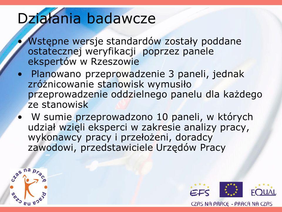 Działania badawcze Wstępne wersje standardów zostały poddane ostatecznej weryfikacji poprzez panele ekspertów w Rzeszowie.