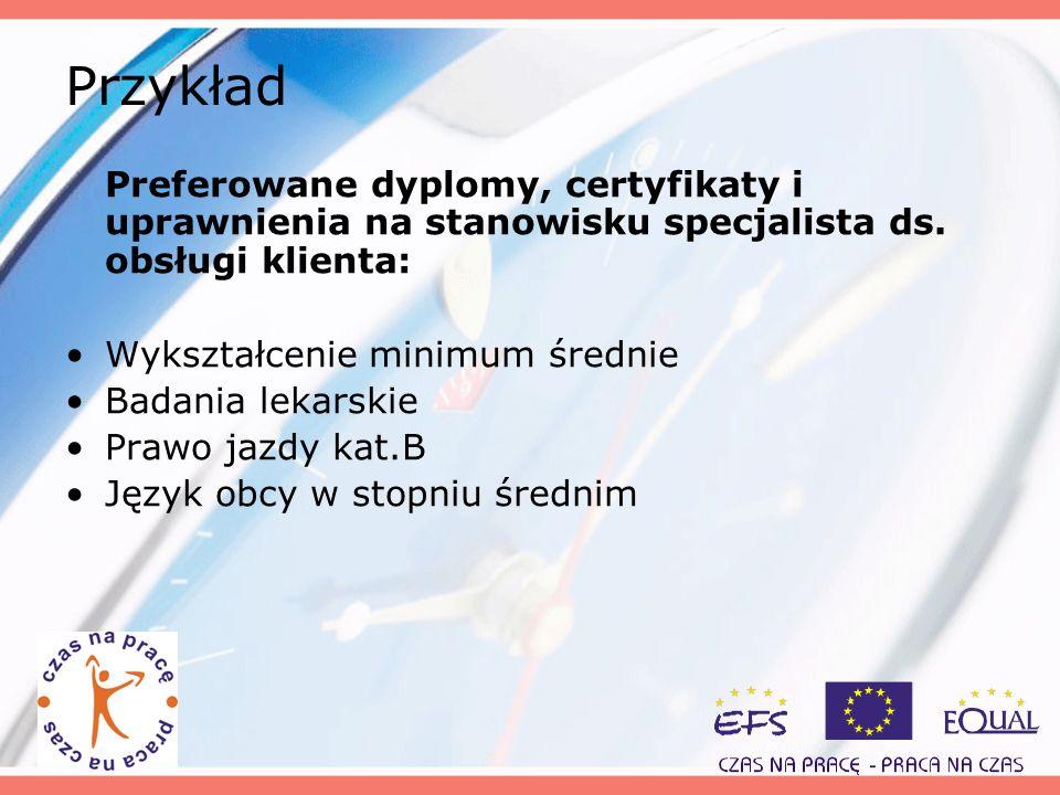 Przykład Preferowane dyplomy, certyfikaty i uprawnienia na stanowisku specjalista ds. obsługi klienta:
