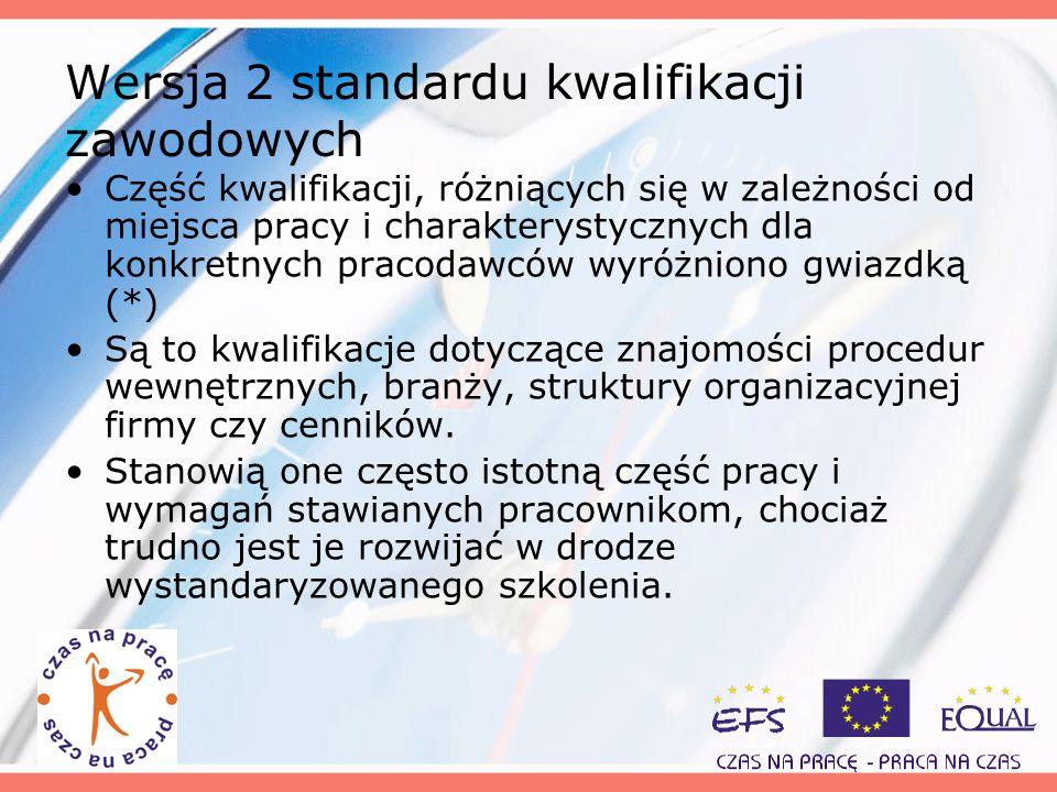 Wersja 2 standardu kwalifikacji zawodowych
