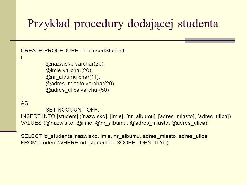 Przykład procedury dodającej studenta
