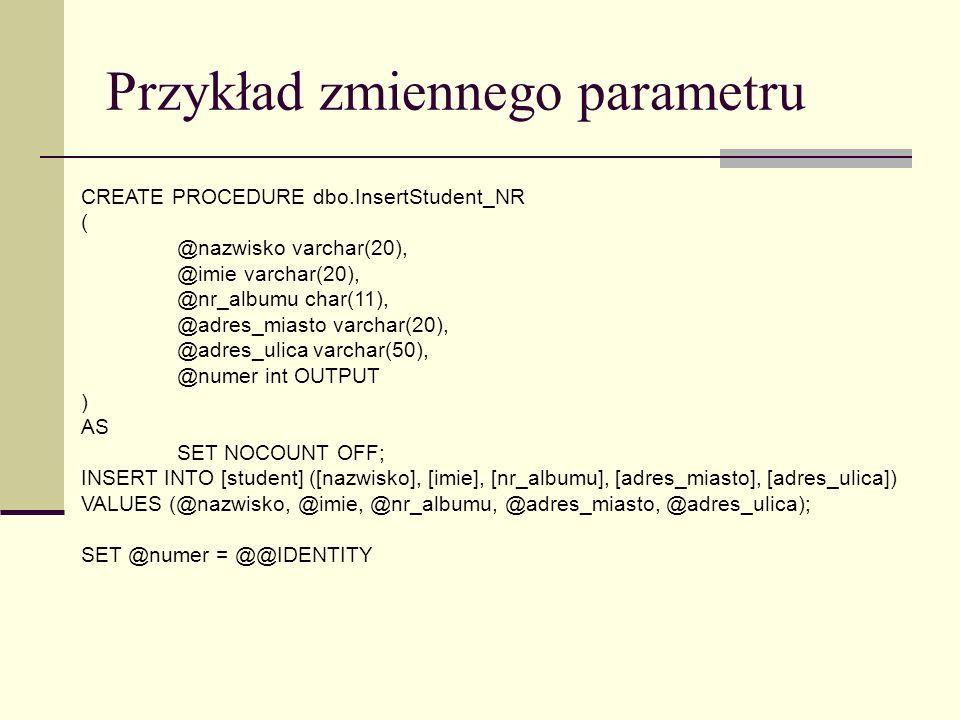 Przykład zmiennego parametru