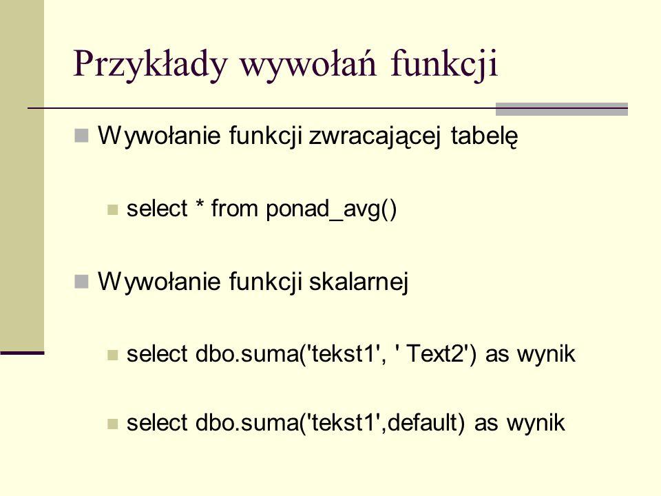 Przykłady wywołań funkcji