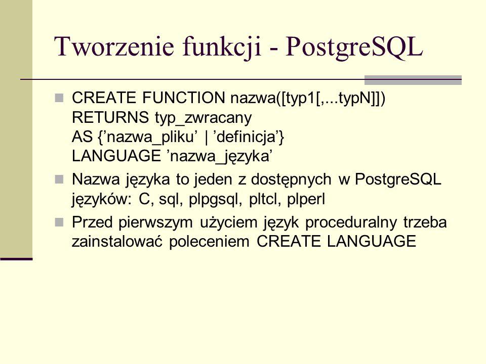 Tworzenie funkcji - PostgreSQL