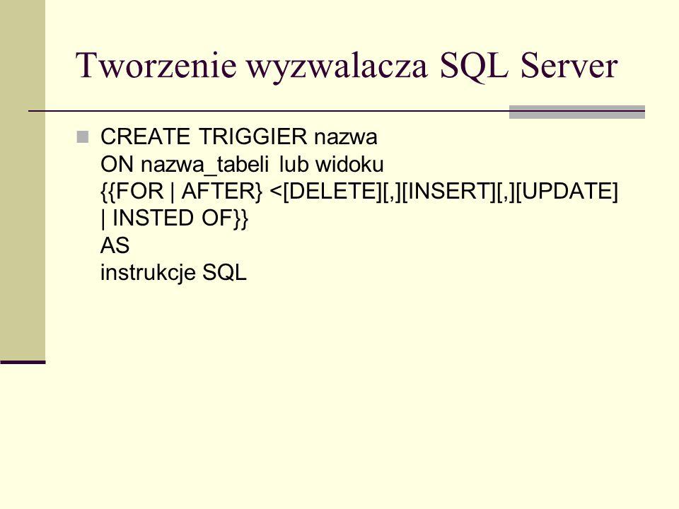 Tworzenie wyzwalacza SQL Server