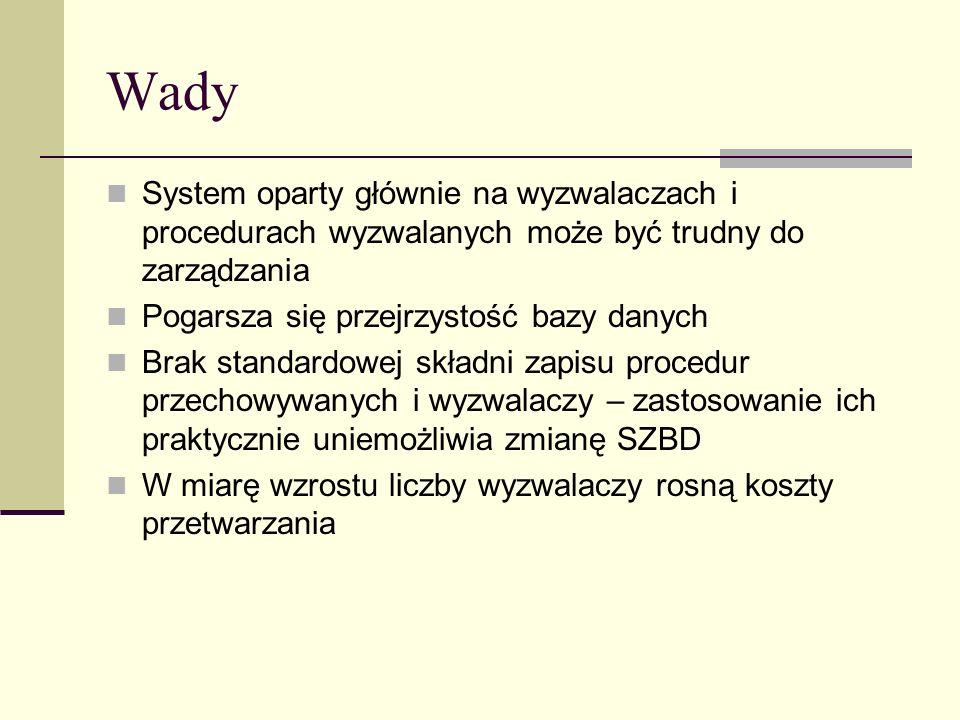 Wady System oparty głównie na wyzwalaczach i procedurach wyzwalanych może być trudny do zarządzania.