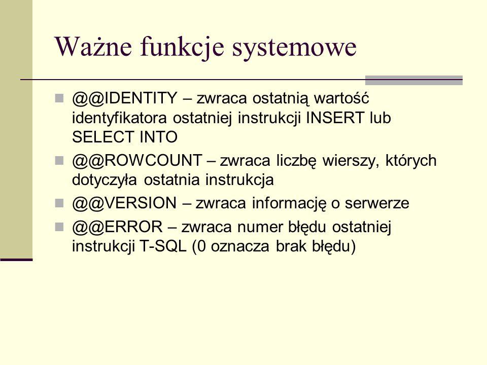 Ważne funkcje systemowe