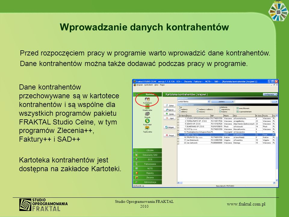 Wprowadzanie danych kontrahentów
