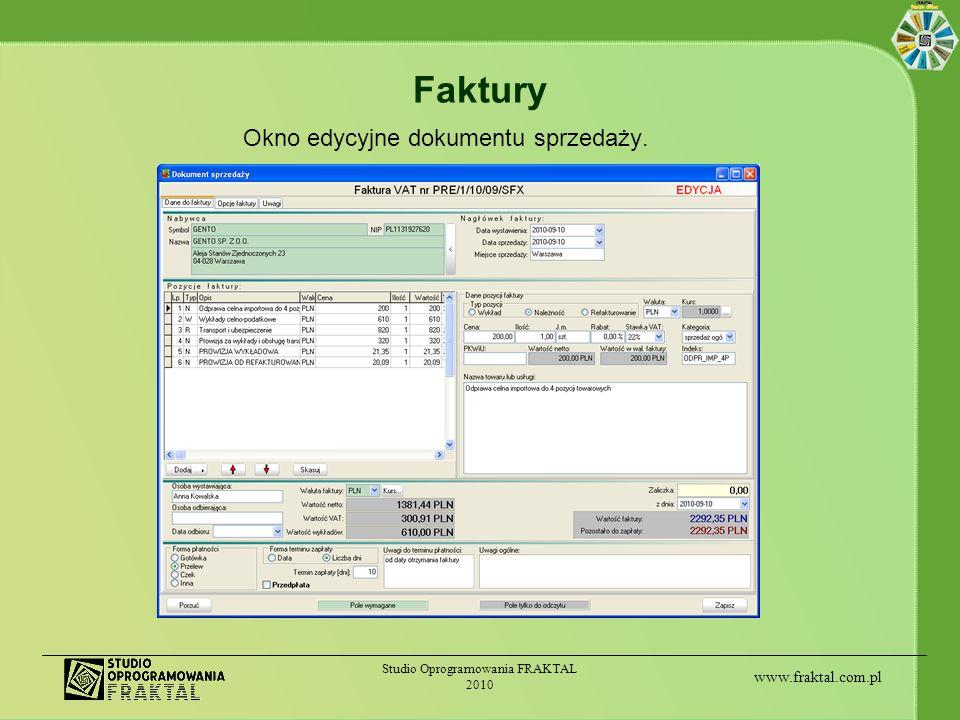 Faktury Okno edycyjne dokumentu sprzedaży.