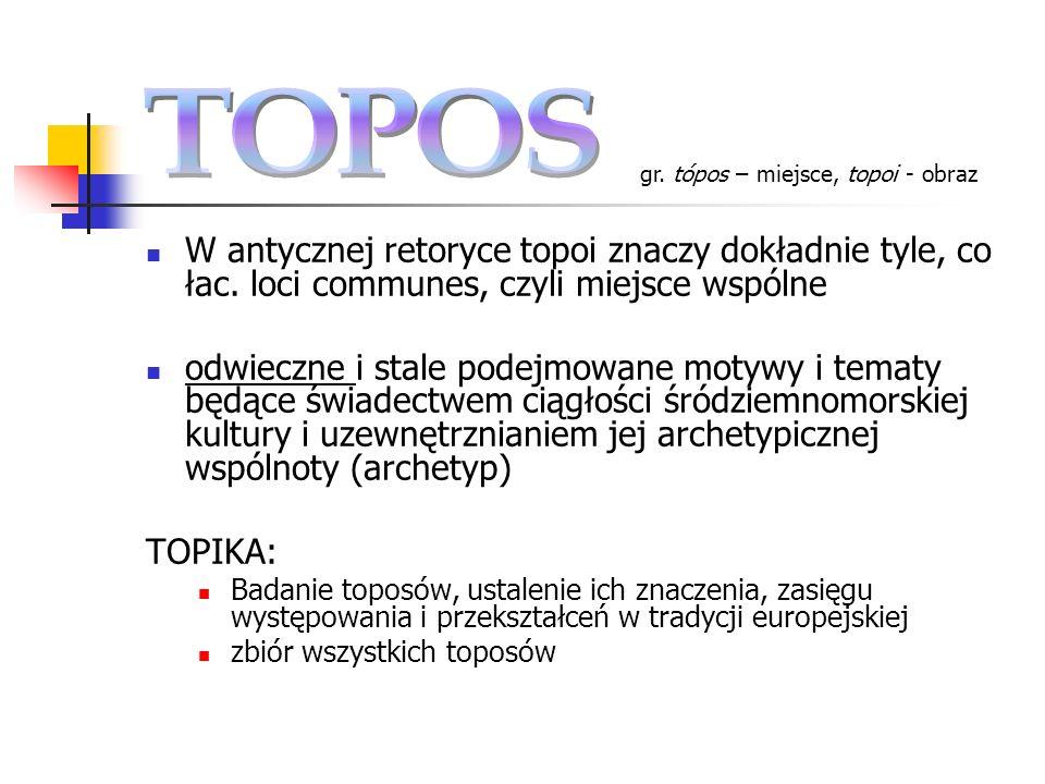 TOPOS gr. tópos – miejsce, topoi - obraz. W antycznej retoryce topoi znaczy dokładnie tyle, co łac. loci communes, czyli miejsce wspólne.