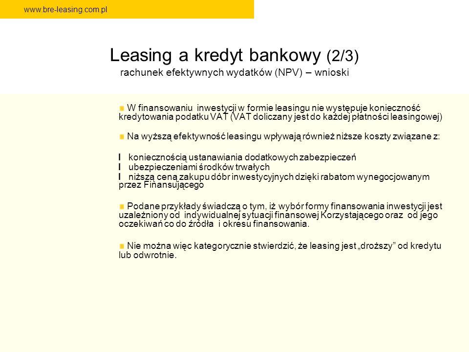 Leasing a kredyt bankowy (2/3) rachunek efektywnych wydatków (NPV) – wnioski