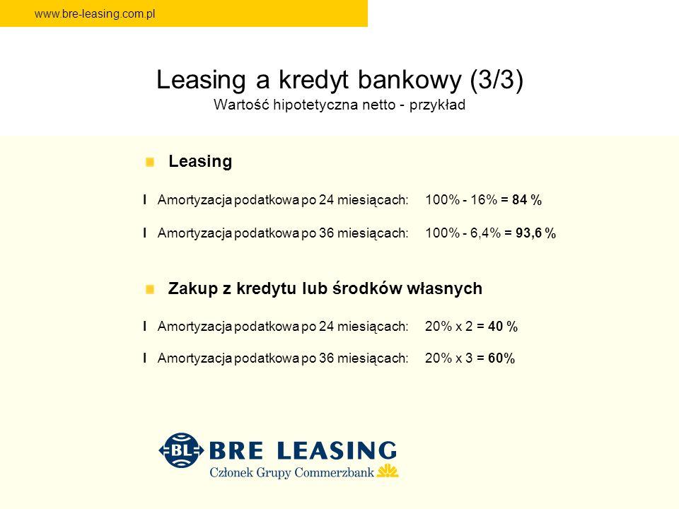 Leasing a kredyt bankowy (3/3) Wartość hipotetyczna netto - przykład