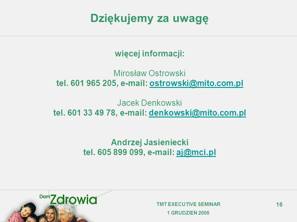 Dziękujemy za uwagę więcej informacji: Mirosław Ostrowski tel
