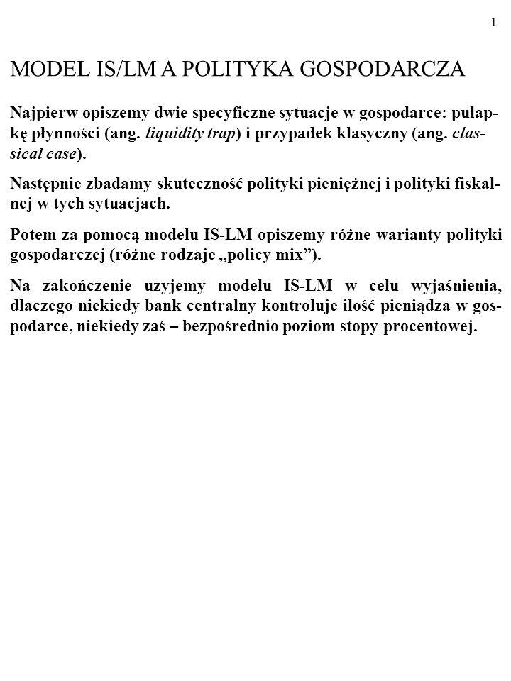 MODEL IS/LM A POLITYKA GOSPODARCZA