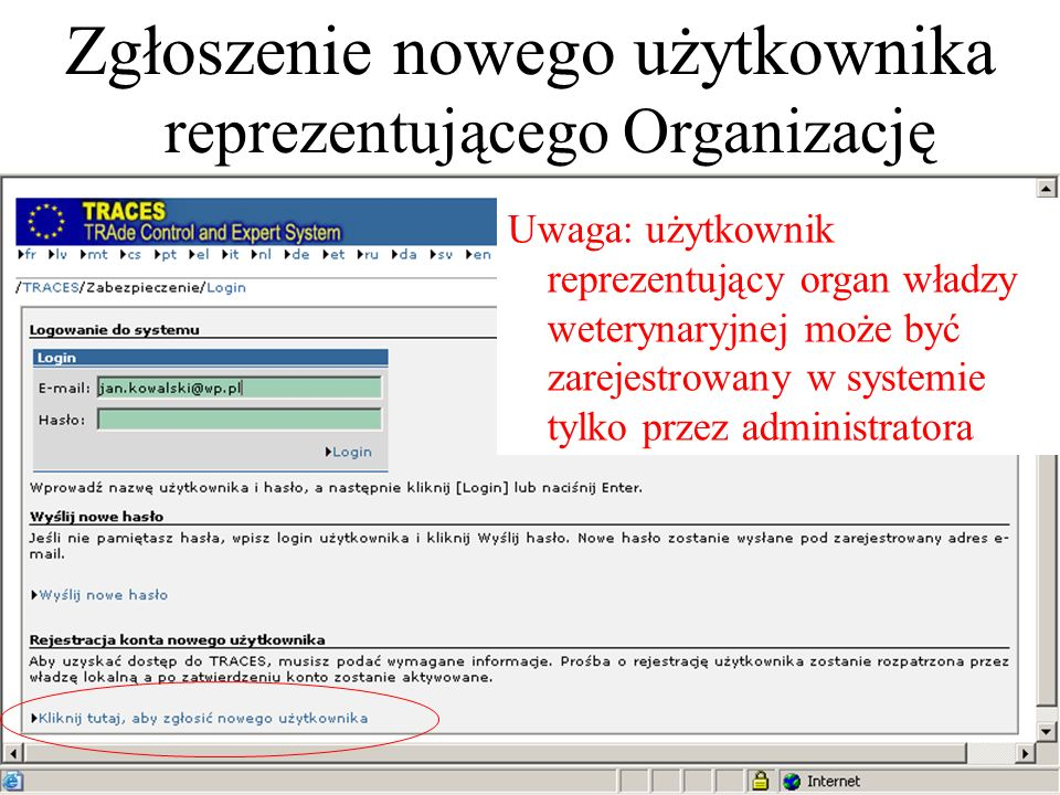 Zgłoszenie nowego użytkownika reprezentującego Organizację