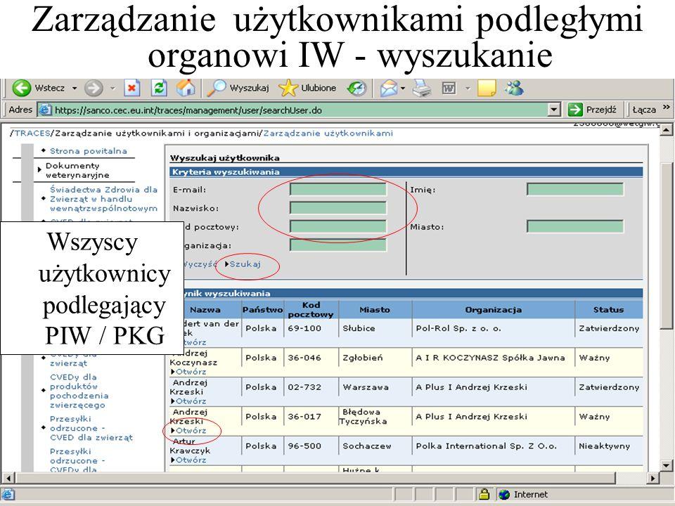 Zarządzanie użytkownikami podległymi organowi IW - wyszukanie