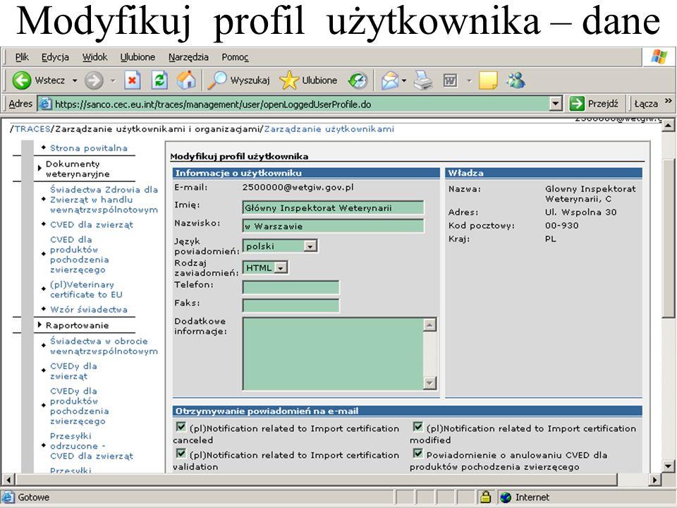 Modyfikuj profil użytkownika – dane