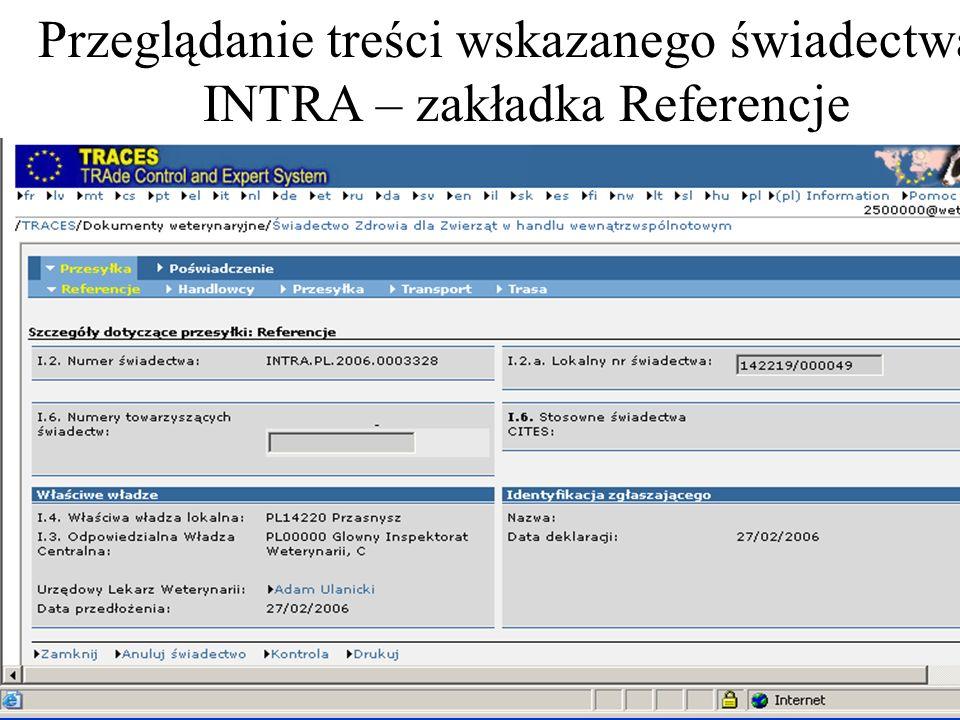 Przeglądanie treści wskazanego świadectwa INTRA – zakładka Referencje