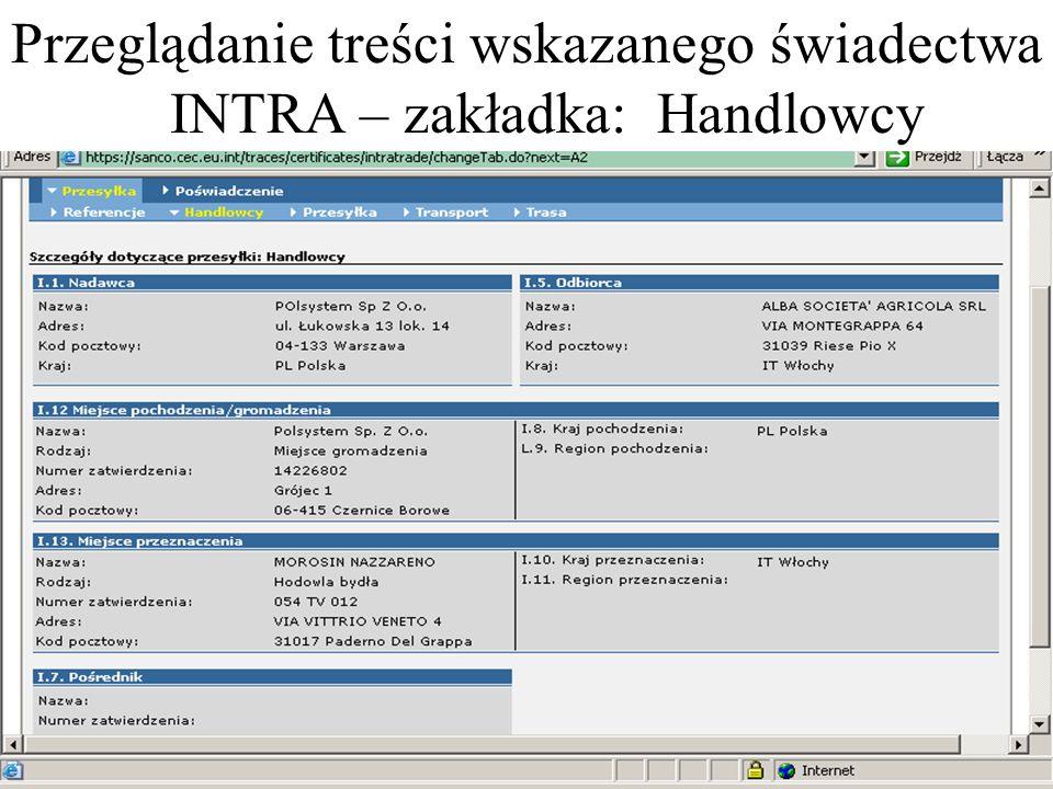 Przeglądanie treści wskazanego świadectwa INTRA – zakładka: Handlowcy