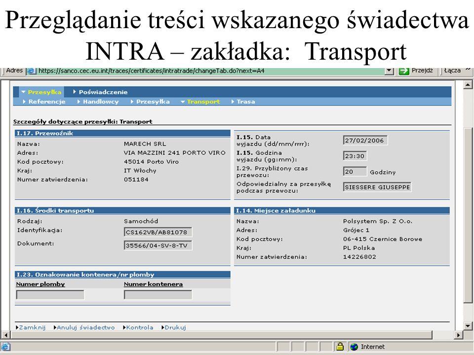 Przeglądanie treści wskazanego świadectwa INTRA – zakładka: Transport