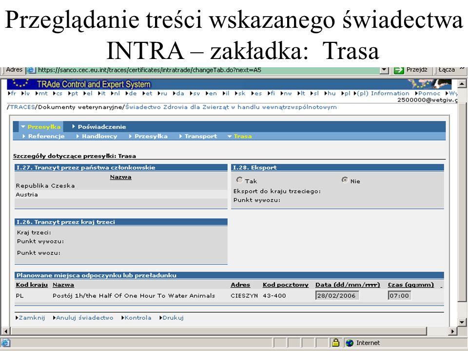 Przeglądanie treści wskazanego świadectwa INTRA – zakładka: Trasa