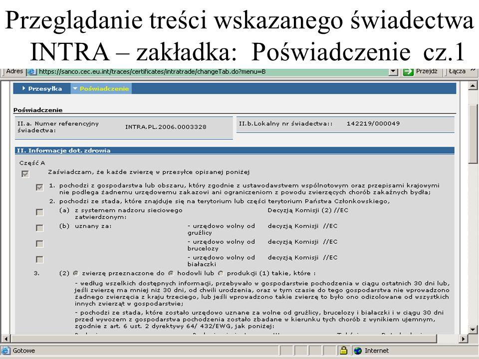 Przeglądanie treści wskazanego świadectwa INTRA – zakładka: Poświadczenie cz.1