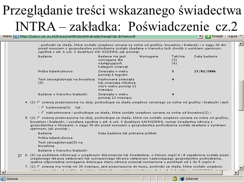 Przeglądanie treści wskazanego świadectwa INTRA – zakładka: Poświadczenie cz.2