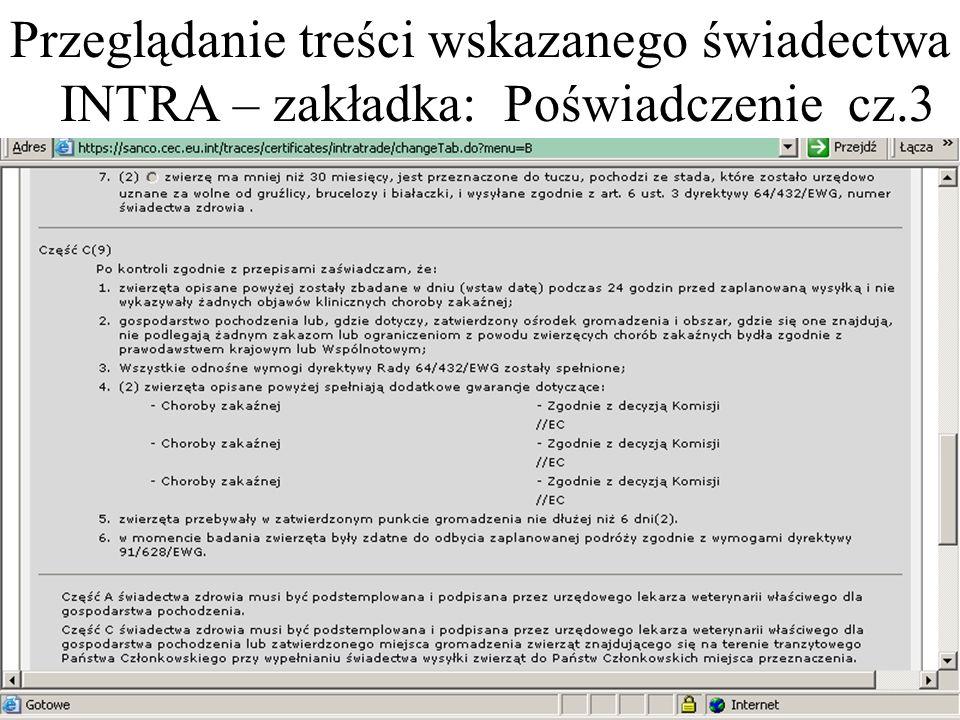 Przeglądanie treści wskazanego świadectwa INTRA – zakładka: Poświadczenie cz.3