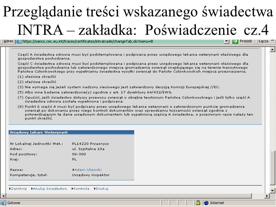 Przeglądanie treści wskazanego świadectwa INTRA – zakładka: Poświadczenie cz.4