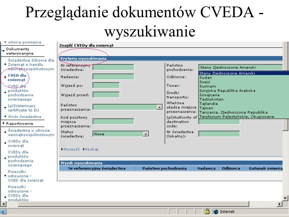 Przeglądanie dokumentów CVEDA - wyszukiwanie