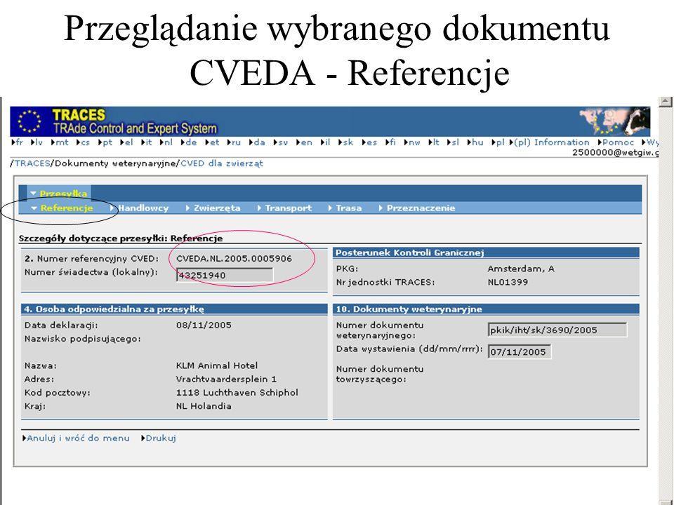 Przeglądanie wybranego dokumentu CVEDA - Referencje
