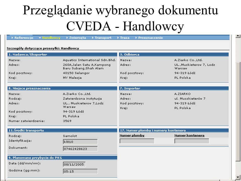 Przeglądanie wybranego dokumentu CVEDA - Handlowcy