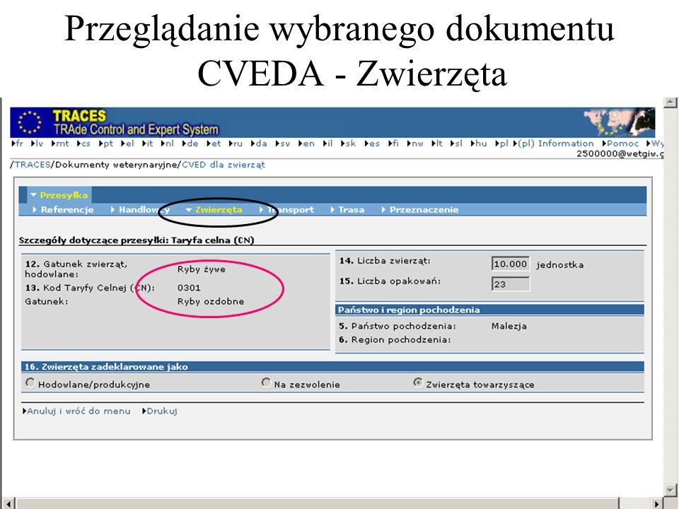 Przeglądanie wybranego dokumentu CVEDA - Zwierzęta