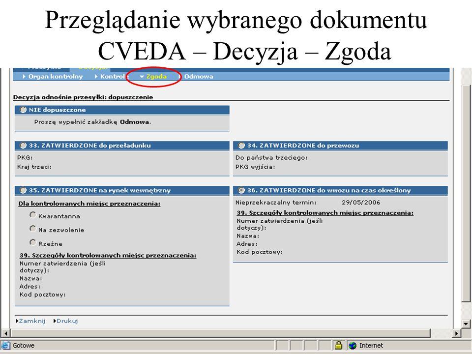 Przeglądanie wybranego dokumentu CVEDA – Decyzja – Zgoda