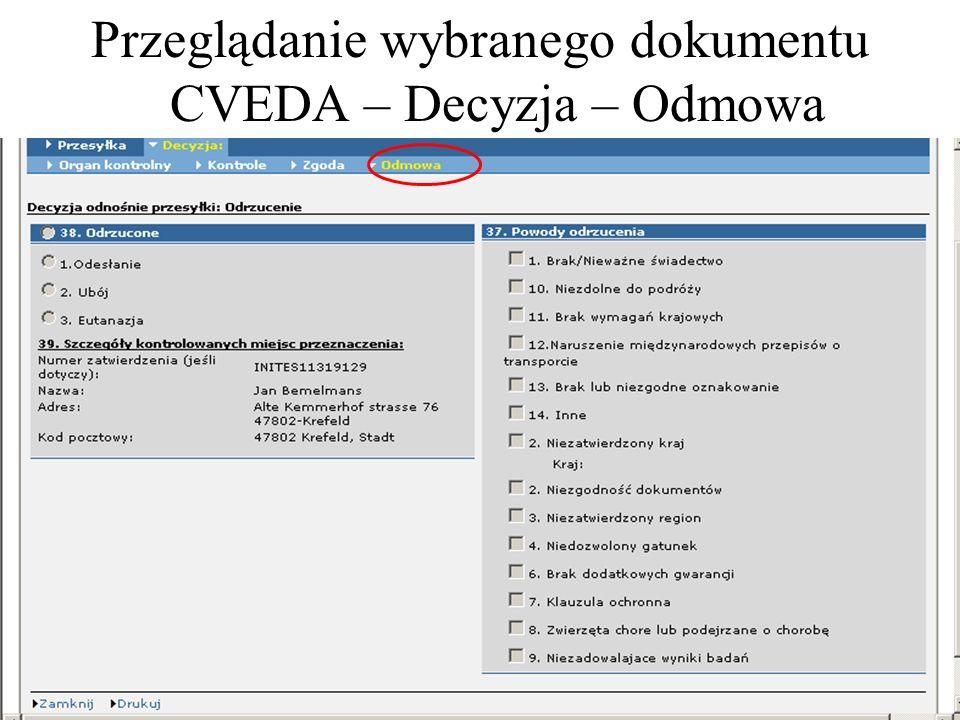 Przeglądanie wybranego dokumentu CVEDA – Decyzja – Odmowa
