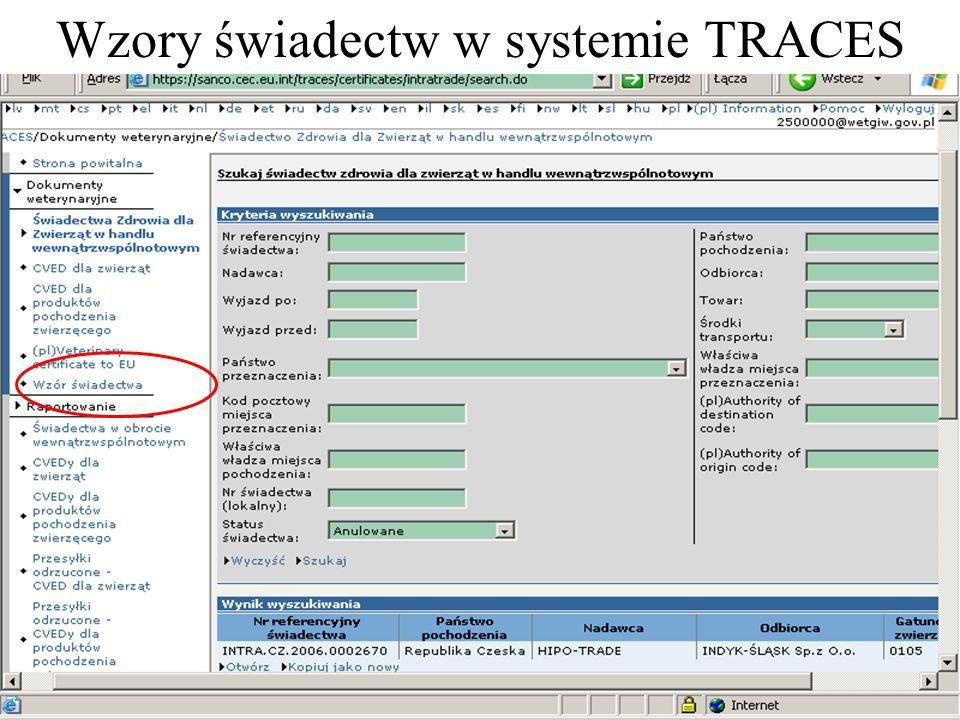 Wzory świadectw w systemie TRACES