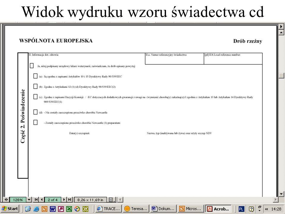 Widok wydruku wzoru świadectwa cd