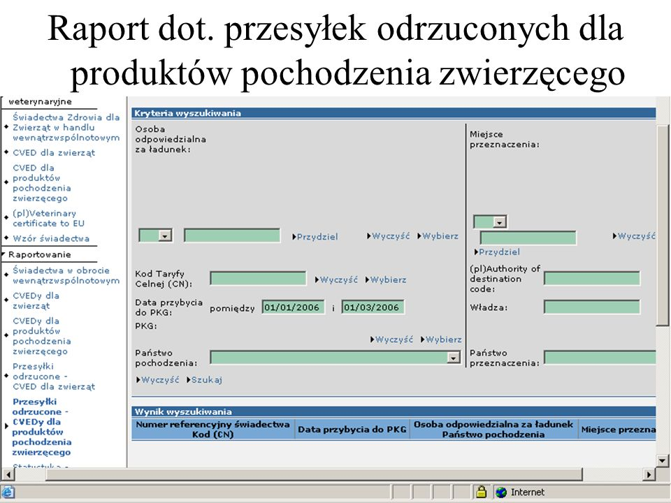 Raport dot. przesyłek odrzuconych dla produktów pochodzenia zwierzęcego